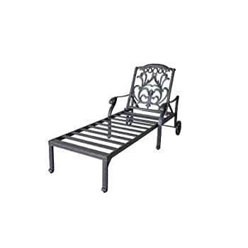 Mandalay Cast Aluminum Powder Coated Chaise Lounge with Cushion - Antique Bronze