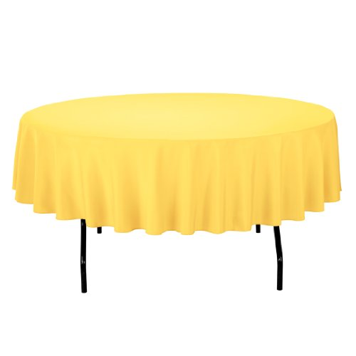 Linentablecloth Round Polyester Tablecloth, 90-Inch, Gold front-458322
