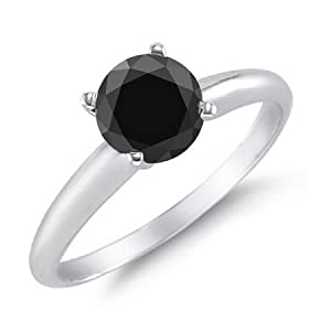 Click to buy Black Diamond Solitaire Ring 14K White Gold from Amazon!