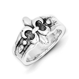 Genuine IceCarats Designer Jewelry Gift Sterling Silver Fleur De Lis Ring Size 6.00