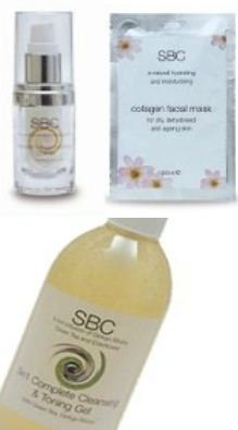 SBC Collagen Facial Care Trio: 3 in 1 Complete Cleansing & Toning Gel , Hydra-Gel Serum & 5 Face Masks