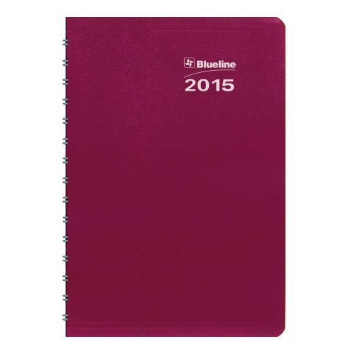 Blueline 2015 Duraglobe Weekly Planner, Twin-Wire Binding, Soft Red Cover, 8 x 5 Inches (C215.23T-15)