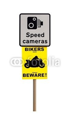 "Wallmonkeys Peel and Stick Wall Decals - Speed Camera and Biker Warning Sign - 24""H x 14""W Removable Graphic"