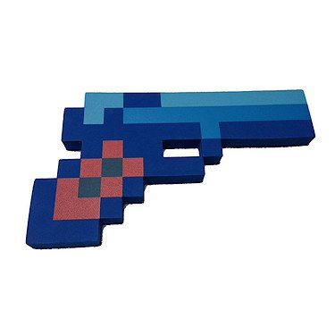 8 Bit Pixelated Blue Diamond Foam Gun Toy 10""