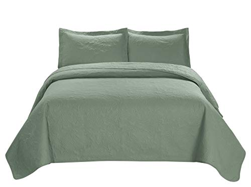 3 Piece MIKANOS Ultrasonic Embossed Bedspread Set-Oversized Queen 100inx106in, King 118inx106in (King, Sage) King