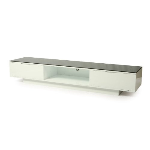Kitano Glass-Top High-Gloss Wood TV Stand
