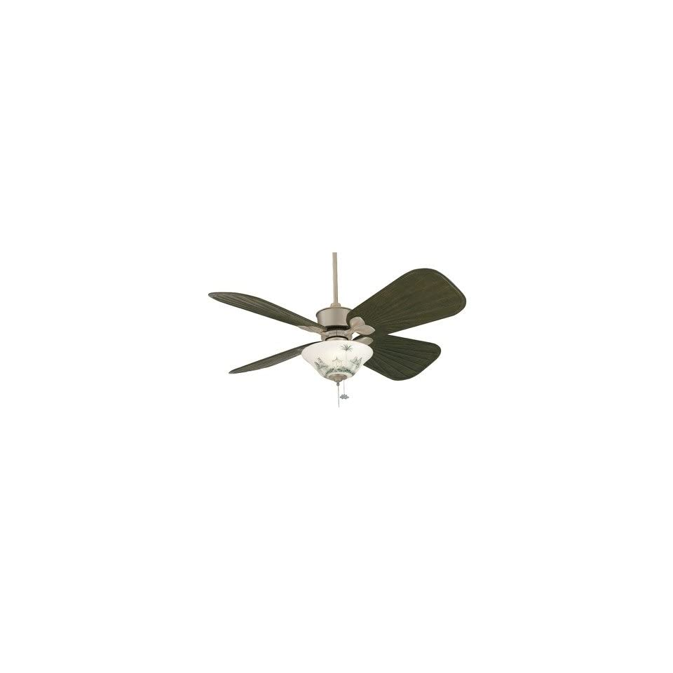 Islander Ceiling Fan in Satin Nickel Finish Antique Brass