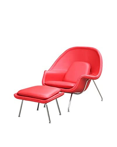 Manhattan Living Womb Chair With Ottoman In Leather, Red