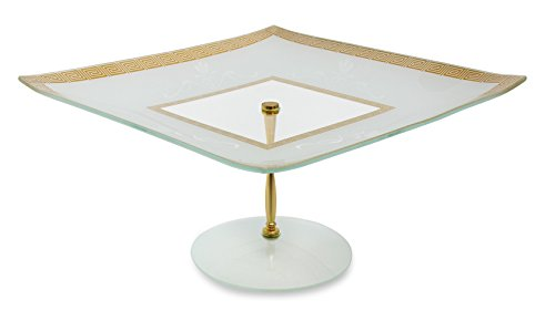 GAC Tempered Glass Decorative Square Cake Stand 13 Inch Glass Cake Plate - Break and Chip Resistant - Dishwasher Safe 6 Inch High Cake Platter Square Footed Cake