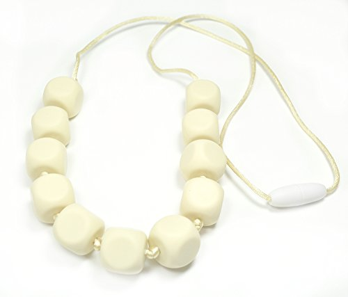 "Silli Me Jewels: ""Lucky Dice"" - Teething Necklace with Cube-shaped Beads for Mom to Wear and Baby to Chew (Navaho White)"