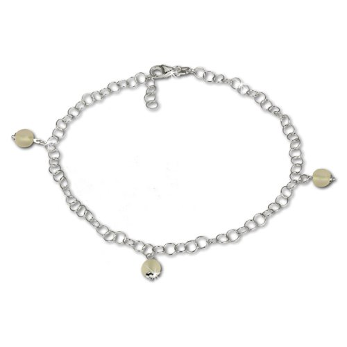 SilberDream anklet with tiny yellow frosted glass beads, 925 Sterling Silver 9.8 inch SDF011Y
