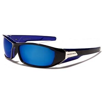 ArcticBlue Lunettes de Soleil - Sport - Cyclisme - Ski - Conduite - Motard - Plage / Mod. Kite Bicolore Noir Bleu Miroir / Taille Unique Adulte / Protection 100% UV400
