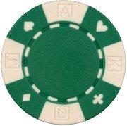 Da Vinci 50 Clay Composite Card Suited 11.5-Gram Poker Chips (Green)