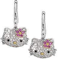Hello Kitty Silver Tone Crystal Hoop Earrings with Pink Flower