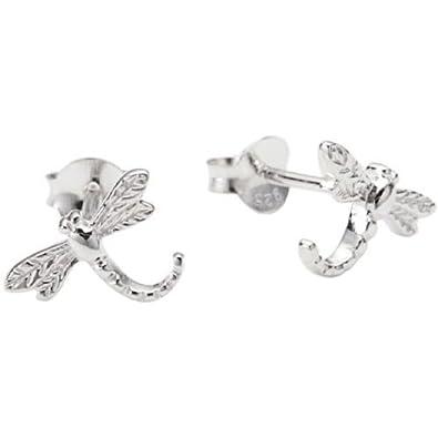 Boucles d/'oreilles libellules blanc argent sterling 925