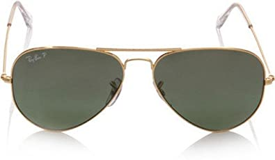 Ray-Ban RB3025 Aviator Large Metal Non-Polarized Sunglasses,Gold Frame/Crystal Green G-15XLT Lens,58 mm
