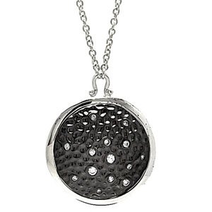 Sterling Silver Cubic Zirconia Oxidized Hammered Disc Necklace Pendant w/ Chain (Diameter: 24mm) (16