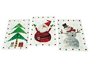 Set of 3 Mod Holiday Santa/Snowman/Tree Glass Christmas Serving Platters 17""