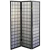 3-panel Shoji Screen Room Divider , Black (3 Panel)