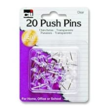 Charles Leonard Pins - Push  - Clear - 20/Card, 20210