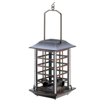 koehler Home Decor Outdoor Garden Accent Solar Metal Birdfeeder Lantern