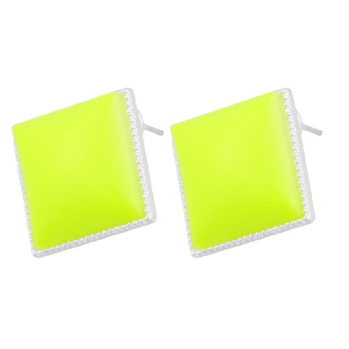 Rosallini Woman Glittery Rim Square Yellowgreen Plastic Eardrop Pierced Earrings Pair