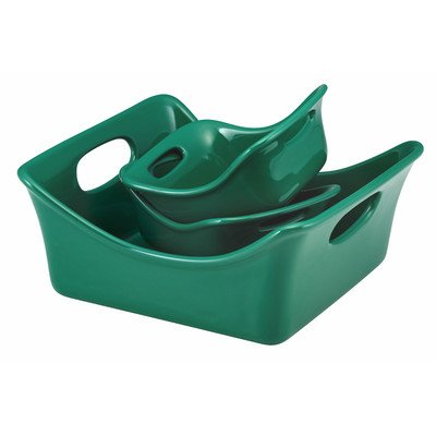 Rachael Ray Green 3-Piece Baker and Au Gratin Set