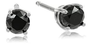 14k White Gold Round Black Diamond Stud Earrings (1/2 cttw)