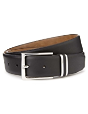 Coated Leather Rectangular Buckle Belt