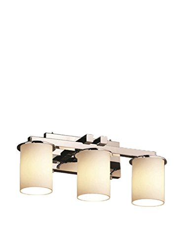 Justice Design Group Fusion Dakota 3-Light Vanity Light, Polished Chrome/Opal