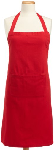 DII 100% Cotton, Professional Bib Apron With Adjustable Neck Strap & Waist Ties, Unisex Restaurant Chef Kitchen Apron Is Machine Washable with Front Pockets, Perfect for Cooking, Baking, Barbequing, & More - Red