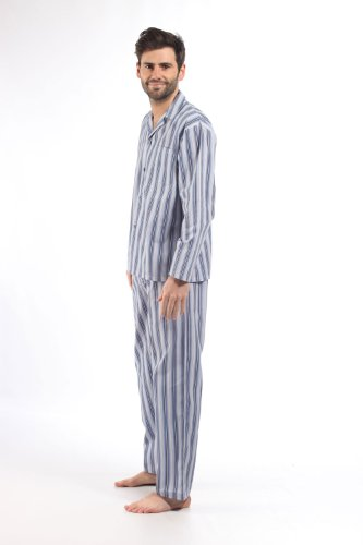 Mens Harvey James Striped Polycotton Pyjamas Pajama Nightwear Sleep Lounge Wear Blue-White-Navy L