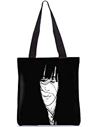 Snoogg Girl Hair Blown By The Wind Black Digitally Printed Utility Tote Bag Handbag Made Of Poly Canvas