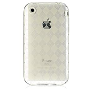 Clear Argyle Checker Soft Crystal Candy Silicone Tpu Skin and Screen Protector for Apple iPhone 3G 3GS + Premium Precut Lcd Screen Guard