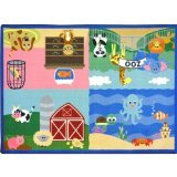 "Joy Carpets Kid Essentials Infants & Toddlers Animals All Around Rug, Multicolored, 3'10"" x 5'4"""