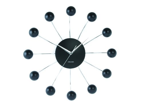Karlsson Wall Clock Big Spider Steel With Plastic Balls Black