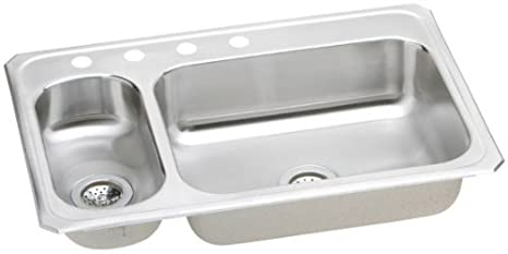 Elkay CMR33220 Gourmet Double Basin Drop-In Stainless Steel Kitchen Sink, 22-Inch x 33-Inch