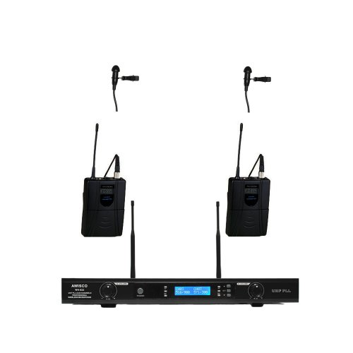 Awisco Uhf 822L361 Dual Channel Lavalier Wireless Microphone