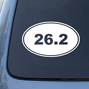 26.2 MARATHON RUNNING EURO OVAL - Vinyl Car Decal Sticker #1765 | Vinyl Color: White