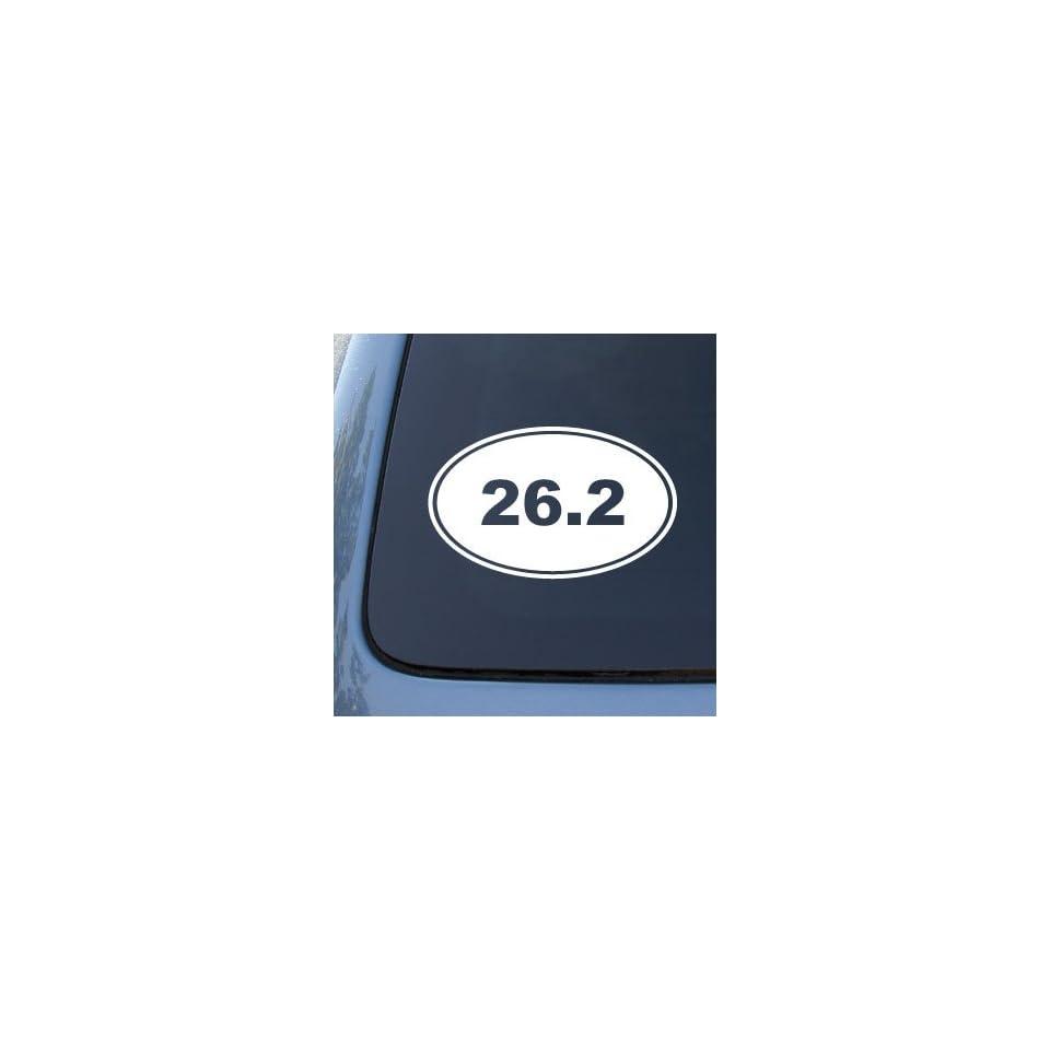 26.2 MARATHON RUNNING EURO OVAL   Vinyl Car Decal Sticker #1765  Vinyl Color White