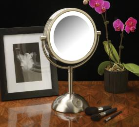 jerdon hl8808nl 8 5 inch tabletop two sided swivel led lighted vanity mirror with 8x. Black Bedroom Furniture Sets. Home Design Ideas