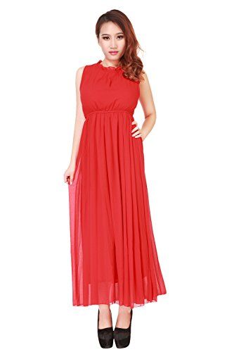 Am Clothes Womens Sexy Black Round Neck Long Cocktail Dress (Medium, Red) front-1069351