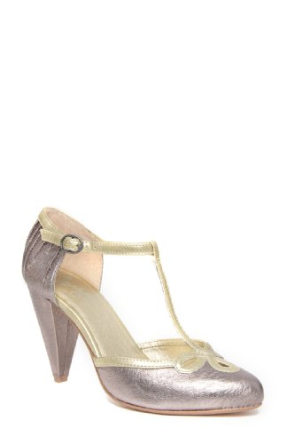 Seychelles Women's All Dressed Up T-Strap Pump,Pewter,6 M US
