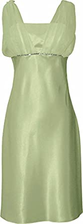 Satin Chiffon Prom Dress Holiday Formal Gown Bridesmaid Crystals Knee-Length Junior Plus Size, XS, Sage