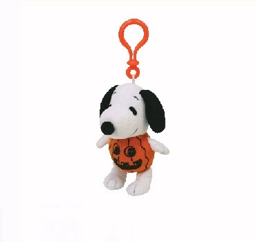 TY Beanie Baby - SNOOPY the PUMPKIN Dog ( Plastic Key Clip )
