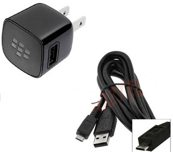 OEM Blackberry RIM Home Wall Travel Charger Adapter with Micro USB Data Sync Cable for Blackberry Curve 8520 8530 8900 3G 9300 9330 9500 Storm 9530 Storm 2 9550 9520 Tour 9630 Style 9670 Bold 9650 9700 9780 Torch 9800