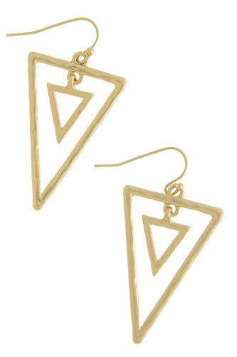 The Jewel Rack Triangle Outlined Danggle Earrings (Matted Gold)