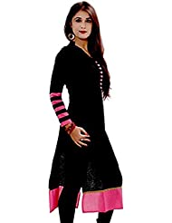 Everest Enterprise Women's Black Cotton Kurti(EA0016-1001 _ Black_ Stripes_free Size)