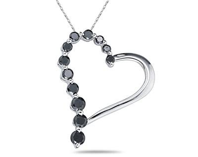 1.00 Carat Black Diamond Journey Heart Pendant in White Gold