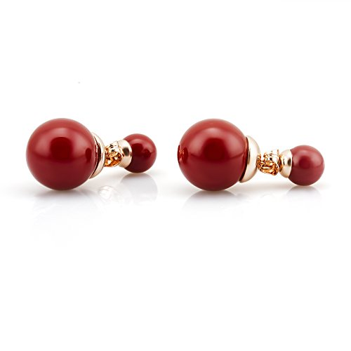 Fashion Plaza 18K Rose Gold Plated Double-Faced Pearl Stud Earrings E612